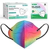 IDOIT FFP2 Maske bunt Mund- und Nasenschutz Maske, 50 Stück farbige CE zertifizierte bunte Atemschutzmasken mit 5-lagige Filtration,einzeln verpackt