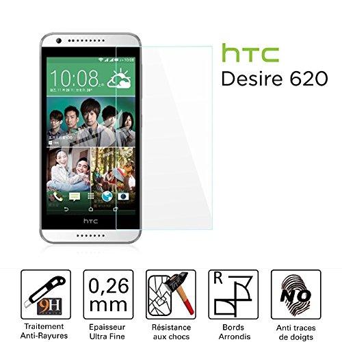 TM-Bildschirmschutzfolie/Schutzglas für Bildschirm–HTC Desire 620/620g Dual Sim–Hartglas HQ Ultra beständig (gegen/Kleinschreibung und Kratzer)–Ultra Slim (0,26) mit abger&ete Kanten–Schutz & ein Komfort Bedienkomfort