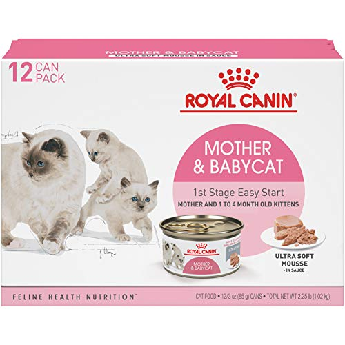 Royal Canin Mother & Babycat Ultra-Soft Mousse in Sauce Wet Cat Food for New Kittens and Nursing or Pregnant Mother Cats, 3 Ounce Can (Pack of 12)