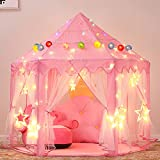 Ejoyous Tente de Jeu de Princesse, Portable Tente de Château Hexagonal avec 6 Mètres 40 étoile à LED(Batterie Non Comprise), Château de Princesse Tente pour Enfants, Filles, Tout-Petits, Rose