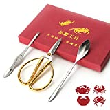 TIMEXING 3Pcs Seafood Tools (Scissors, Spoons, Needles), Crab Lobster Cracker, Durable, Stainless Steel