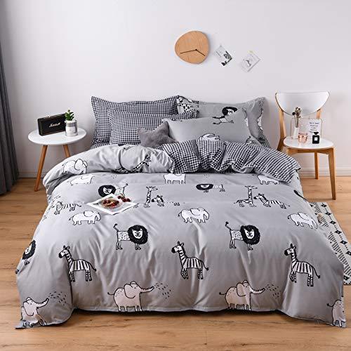 Kids Baby Bedding Set Boys Girls Zoo Duvet Cover Wild Animals Elephant Monkey Giraffe Zebra Lion Comforter Cover Single