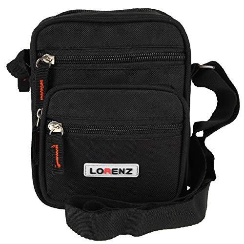 Lorenz - Bolso al hombro de lona para hombre negro negro
