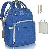 Baby Wickelrucksack Blau Wickeltasche Lumello mit Wickelunterlage Babyrucksack für Unterwegs