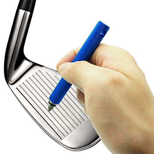 Golf Club Groove Sharpener Sharpening Tool Re-Grooving Cleaning Tool and Cleaner for Wedges & Irons (Blue)