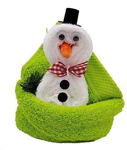 Frotteebox Geschenk Set Schneemann weiß in Handarbeit geformt aus 1x Gästetuch grün, 1x Seifentuch weiß mit Zylinder