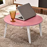 Foldable Computer Desk Bed with Small Table Bay Window Table Lazy Table Round Tatami Writing Desk (Color : D)