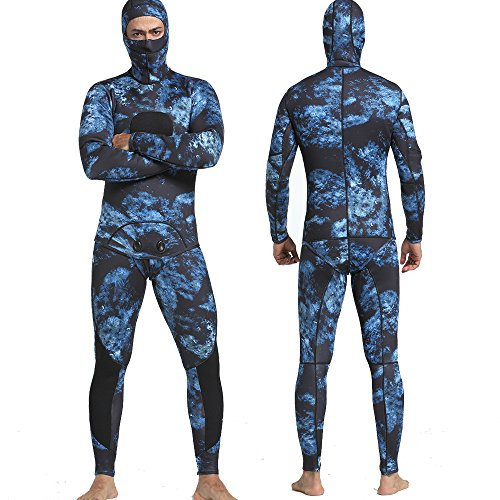MYLEDI Camo Wetsuit 3mm Neoprene Super Stretch Free Diving and Spearfishing Wetsuit Including Long John and Jacket (MY051, XL)