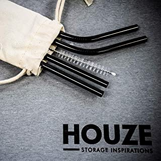 HOUZE KN-6111 Stainless Steel Straw Set of 4, Black