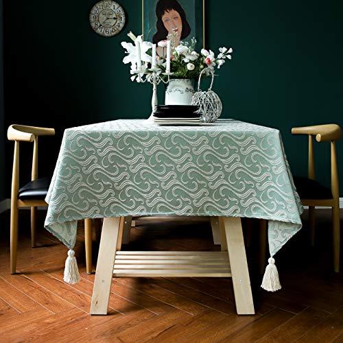 Mantel rústico Elegante Rectangular de algodón con Rayas Decorativas con Flecos, decoración de Mesa de jardín, Jacquard Verde 110 * 110 cm