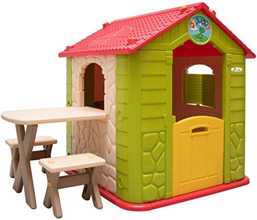 LittleTom Kinderspeelhuisje vanaf 1 - Tuin Kinderhuisje met Tafel - overdekt Kinder Speelhuisje plastic