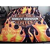 Harley Davidson 'Fresh' Plush Raschel Throw Blanket Measures 60 By 80 inches