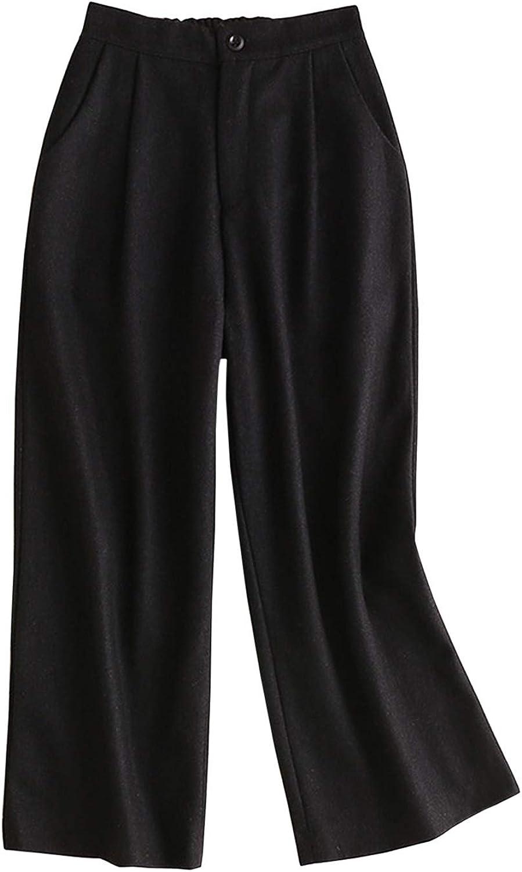 Yimoon Women's Elastic Waist Wide Leg WoolBlend Pant Woolen Trousers