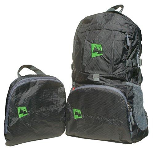 Pieghevole Zaino Leggero 35L Backpack Daypack - per Viaggio Escursioni Bici Vacanze Sportivo ecc. Adatto per Donna Uomo & Bambini. Impermeabile Regolabile & Catarifrangente. (Nero)