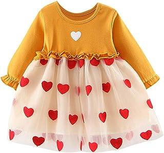 DaMohony con graziosi fiocchi per neonate e bambine Vestito da bambina con maniche a campana e bottoni