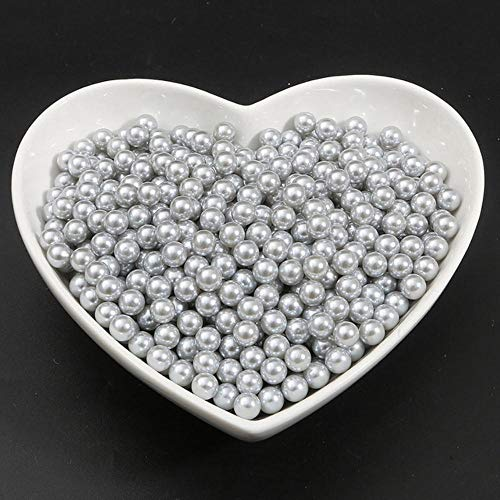 2-18mm Ronda ABS Imitación Sin agujero Perlas Perlas Perlas blancas para manualidades DIY Vestido de novia Ramo Decoración Accesorios de prendas de vestir, gris, 3 mm 1000 piezas