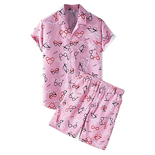 Shirt Uomo Set Vacanze estive Uomo a Maniche Corte e Pantaloni Corti Set da 2 Pezzi Moda Stampa Tendenza Colore Contrasto Camicia Uomo Hawaii Camicia Spiaggia Casual