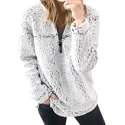 Great Deal! HunYUN Women's Casual Top Winter Warm Blouse Long Sleeve Solid Color Sweatshirt Zipper B...