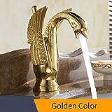 Cobre Cuenca Grifos nuevo diseño cisne del grifo de oro chapado lavabo grifo de oro de lujo del hotel griferías caliente y fría Grifos HJ-35K, oro