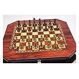 Juego de ajedrez de metal brillante Vintage chapado en oro Piezas de ajedrez Tablero de ajedrez de madera maciza Juego de ajedrez profesional de alto grado Juego de regalos Ch (Ejercicio de pensamient
