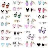 TAMHOO Rose Gold Plated Stainless Steel Mixed Color Cute Pineapple Mouse Heart Shape Love Owl Ladybug Stud Earrings Set