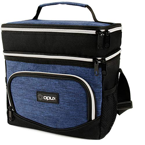 OPUX Dual Compartment Lunch Box Men Women | Double Deck Leakproof Lunch Bag Work Office School | Insulated Soft Cooler Tote Shoulder Strap Adult Kid | Reusable Thermal Lunch Pail Kit 12 Can, Navy Blue