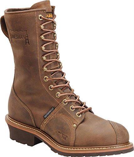 Big Sale Men's Carolina 10 inch Waterproof Composite Toe Linesman Boots Brown, BROWN, 14W