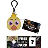 Five Nights at Freddy's Chica: Funko x Mini-Head Plushy Keychain + 1 Free Video Games Themed Trading Card Bundle (091507)