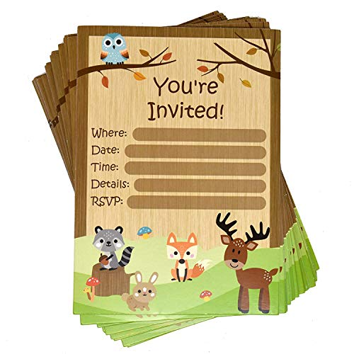 Woodland Party Invitation Cards with Envelopes 36 Pack For Birthday Baby Shower Invites Fox Deer Owl Squirrel Animal Friend Creatures Themed Invitations For Kids Girls & Boys Supplies By Gift Boutique