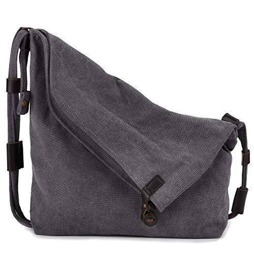 Coofit retrš° borsa a tracolla stile universitario letterario sacchetto della tela di canapa unisex borsa Messenger versione coreana del C5069 (grigio)