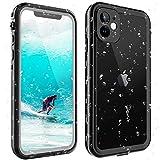ShellBox Funda iPhone 11 IP68 Impermeable con Cuerda Protector de Pantalla Integrado de Silicona Cuerpo Completo Resistente a Prueba de Golpes para iPhone 11-Negro