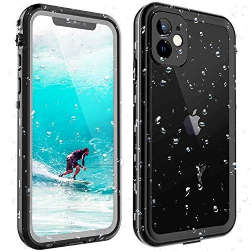 ShellBox Funda iPhone 11 IP68 Impermeable con Cuerda Protector de Pantalla Integrado de Silicona Cuerpo Completo Resistente a Prueba de Golpes para iPhone 11-Negro (Para iPhone 11)