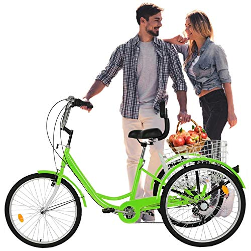 Jiqitu 24 inch red Adult Tricycle 3 Wheel 7 Speed Senior Cruiser Bicycle Cargo Tricycle with Shopping Basket + Lights【U.S. Shipping】
