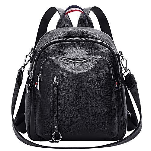 ALTOSY Echtes Leder Rucksack Damen Elegant Schultertasche Frauen Mode Casual Daypack (S9, Schwarz)