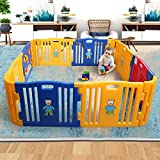 Sandinrayli Baby Playpen Kids 8+4 Panel Safety Play Center Yard Home Indoor Outdoor Fence