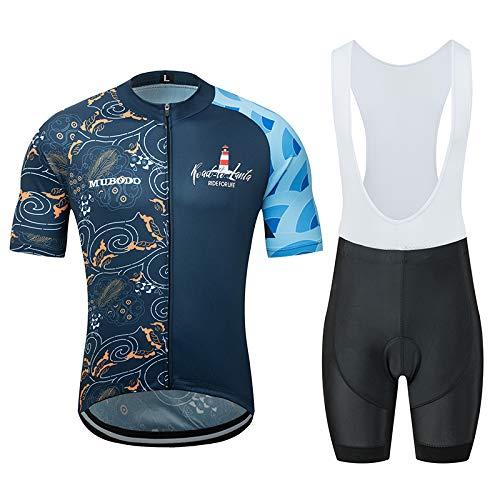 Maillot Ciclismo Corto De Verano para Hombre, Ropa Culote Conjunto Traje Culotte Deportivo con Almohadilla para Bicicleta MTB Ciclista Bici,A,L