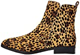 find. Flat Leather Pull On Botines, Marrón (Leopard Spiga), 36 EU