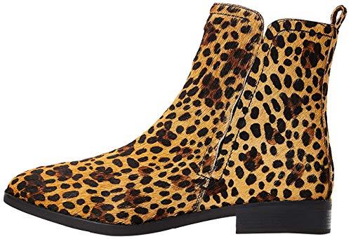 find. Flat Leather Pull On Stivaletti, Marrone (Leopard Spiga), 40 EU