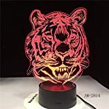 Luces Neon Pared Tiger Head Cartoon 3D LED 7 Cambios de Color 3D LED Lights Regalo de cumpleaños Navidad