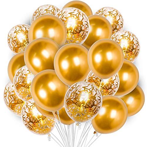 PartyWoo Luftballons Gold, 60 Stück 12 Zoll Luftballons Gold, Luftballons Metallic, Luftballons Transparent, Konfetti Luftballons, Ballons Gold für Geburtstag, Hochzeit, Baby Shower, Babyparty Deko