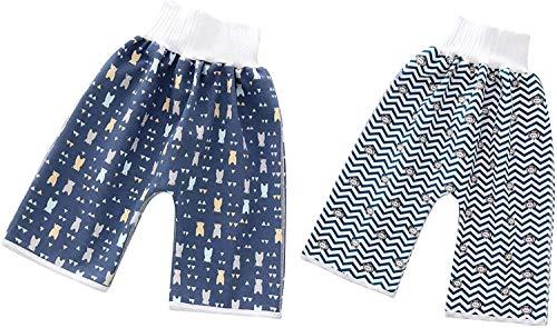 Utopp Waschbar Baumwoll Trainingshose Windelrock,Wiederverwendbar Windelhose für Jungen und Mädchen zum Schlafen Bett Kleidung für Töpfchentraining (Muster F, M)