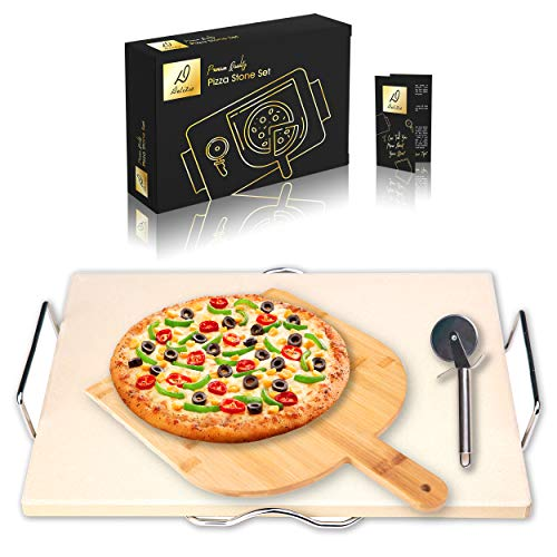 Delizio Pizza Stone Set | for Oven and BBQ - Bamboo Peel, Chrome Rack, Free Cutter | Large + Durable + Thick | Ideal for Bread, Pastry, Pies, Muffins | E-Book Included