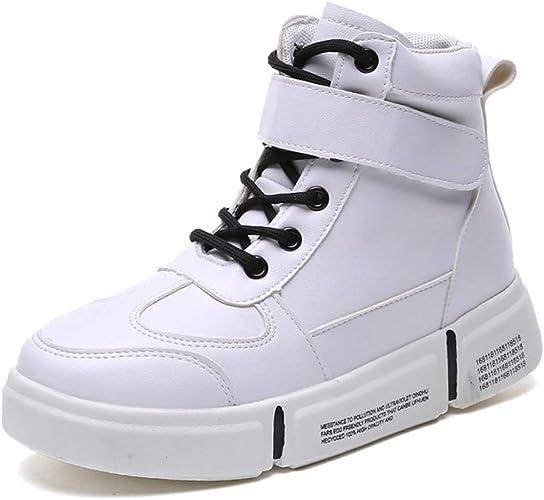 YAN Chaussures de Pont pour Femmes PU Chaussures de Sport Mode Slip on Haut-Top Casual Chaussures Baskets Training Chaussures Chaussures de Sport,B,35
