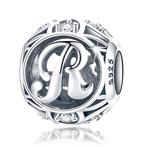FOREVER QUEEN Women's Letter Alphabet Charm 925 Sterling Silver Initial A-Z Alphabet Charm Bead for Pandora Bracelet Gift for Women Girls With Jewelry Box (R)