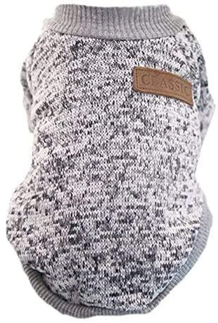 Hinleise Ropa clásica de invierno cálida para perro cachorro gato chaqueta suave suéter ropa para Chihuahua XS