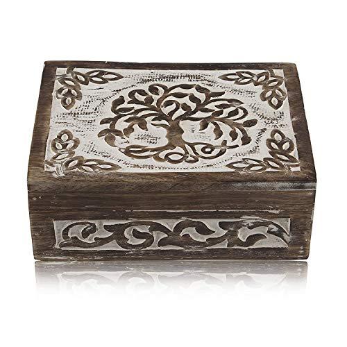 Caja de madera decorativa hecha a mano, diseño de árbol de la vida, caja del tesoro, caja de joyería, caja organizadora del tesoro, joyero, caja de seguridad, 20,32 x 15,24 cm, ideal como regalo