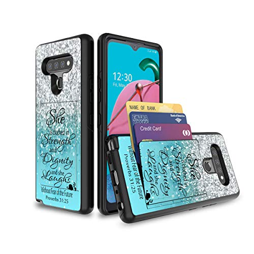 LG Stylo 6 Case,Wallet Case Shockproof 2 in 1 Hybrid Hard PC Soft TPU Non-Slip Protective Phone Case with Hidden Credit Card Slot Holder for LG Stylo 6,Proverbs 31:25 Bible Verse Blue Sparkles Glitter