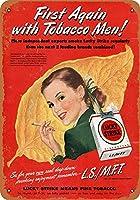[ZUNYI]ブリキ看板 Lucky Strike First Tobacco Men 復古風壁の装飾家、パブ、ビール、ガレージ、庭、コーヒー[20x30cm]