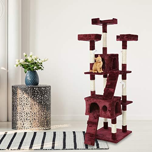 Tiragraffi Gatto albero 170Cm con Cuccia per Gatti Albero Parco giochi gioco tira graffi per Gatto colore Rosso - AQPET