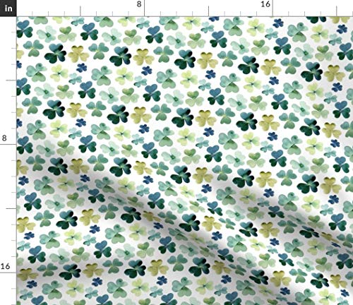 Spoonflower Fabric - Shamrock Watercolor Garden Micro Clover Shamrocks Green Irish Patrick Printed on Fleece Fabric by The Yard - Sewing Blankets Loungewear and No-Sew Projects